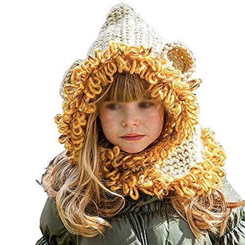 iSpchen Kinder Tier Kapuze Schal,Wolle Gestrickte Plüsch Hut,Earflap Ohr Hut,Schalmütze Für Baby Kinder Mädchen Jungen Gelb EINWEG