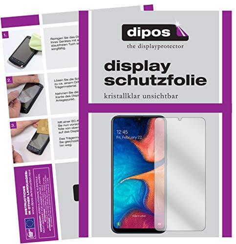 dipos I 2X Schutzfolie klar passend für Samsung Galaxy A20e Folie Displayschutzfolie (bewusst Kleiner als das Glas, da Dieses gewölbt ist)
