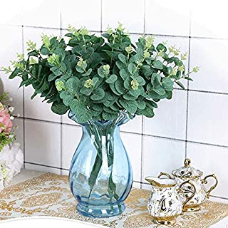 Artificial Plants - 45cm 5 Ks Leaves Large Eucalyptus Leaf Plant Wall Decorative Fake Plants Home Garden Party Supply - In Feet Orchid And Berries Grasses Like Peace Yellow Breath