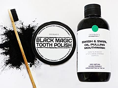 50ml Black Magic Charcoal Powder Tooth Polish + 250ml Coconut Oil Pulling Mouthwash Infused with Medicinal Activated Charcoal Powder and Peppermint Essential Oil+ Bamboo Charcoal Bristle Toothbrush