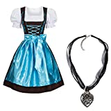Dirndl Set 3 TLG.braun mit Stickerei in Verschiedenen Farben + Halskette Hellblau 36