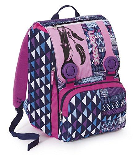 ac98b6f22941 Mochila EXTENSIBLE – SEVEN – ETHNIC – cartera escolar – violeta rosa 28Lt