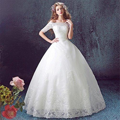 LUCKY-U Brautkleider Hochzeitskleid Frau Spitze Ärmel Weiß Elegant Lange Party Schönes Kleid Hervorragend Einzigartig Brautkleid , us - ärmeln Brautkleider