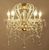 SUN-E European Retro-Stil Kronleuchter Golden Glasperlen & Ahornblatt-Form K9 Kristall Anhänger Pendelleuchte B:550CM