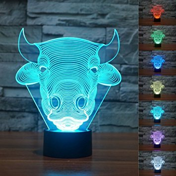3D Bull Cow Lamp Night Light Illusion Lamp 7 Color Change LED Touch USB Table Gift Kids Toys Decor Decorations Christmas Valentines Gift