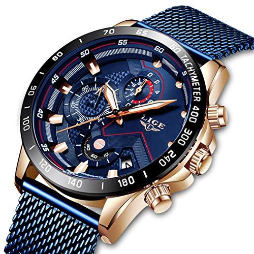 Reloj Deportivo LIGE para Hombre Impermeable Acero Inoxidable Relojes de Cuarzo Analógicos Cronógrafo Trajes de Negocios Reloj del Calendario de La Fecha Automática
