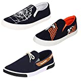 #1: Super Men Canvas Blue Combo Pack of 3 Loafers & Moccasins