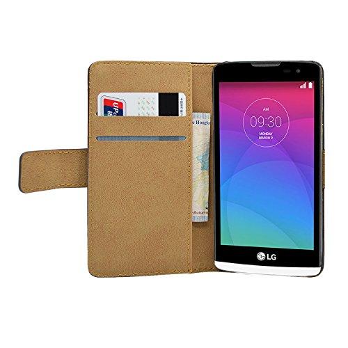 Membrane Funda LG Leon 4G Carcasa Negro Cartera Wallet Case Flip Cover