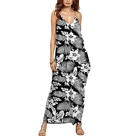 Frauen Mode ärmellos V-Ausschnitt Trägerlos Print Ethno Tasche Sling Loose Beiläufige Lang Kleider Trägerkleid Beachwear Strandkleider Freizeitkleid (XXL, Stil:9)