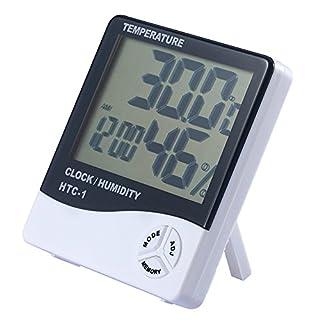 Amasawa Multifunktionsfeuchtigkeit Hygrometer Thermometer LCD Wecker Elektronische Digitalanzeige Kalender Zählerstand Feuchtemessgerät