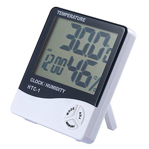 Multifunktionsfeuchtigkeit Hygrometer Thermometer LCD Wecker Elektronische Digitalanzeige Kalender Zählerstand Feuchtemessgerät
