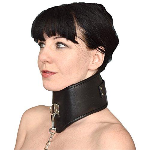 gepolstertes HALSKORSETT aus Kunstleder mit Leine* Bondage Halsband