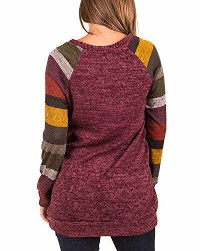 BIUBIU Damen Casual Streifen Sweatshirts Langarm Pullover Pulli Rot