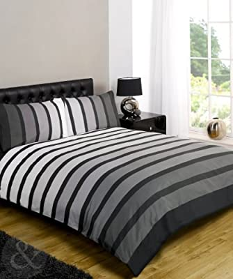 Just Contempo Striped Duvet Cover Set - cheap UK light store.