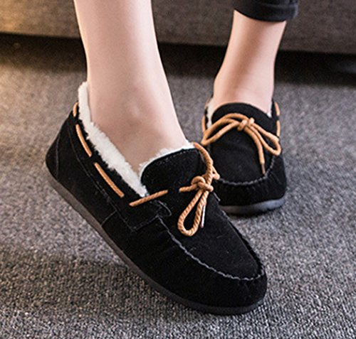Damen Wildleder-Optik Gefürrterte Loafers Weiche Warme Slippers Einfarbig Flache Mokassins Schwarz
