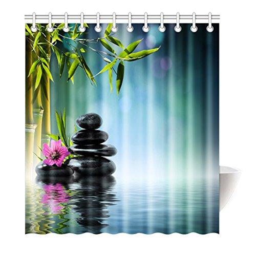Preisvergleich Produktbild Violetpos Duschvorhang Blau Traum Bambus Hochwertige Qualität Badezimmer 180 x 180 cm