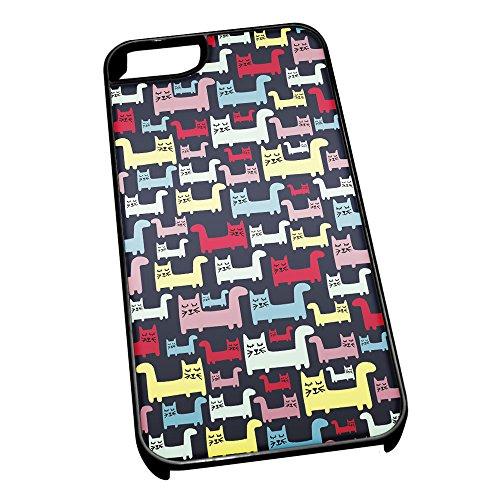Nero-Cover per iPhone 5/5s, motivo: Disegno di gatto 0638-Stivaletti alla caviglia