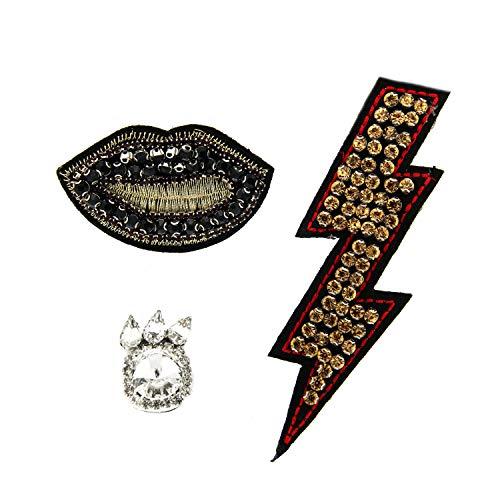 Sweet Deluxe Brosche/Pin Set Flash+Lips+Stone, schwarz/cry/topa I ausgefallene Blusenbrosche für Damen & Mädchen I Frauen-Brosche für Abendkleid & Bluse I Anstecknadel