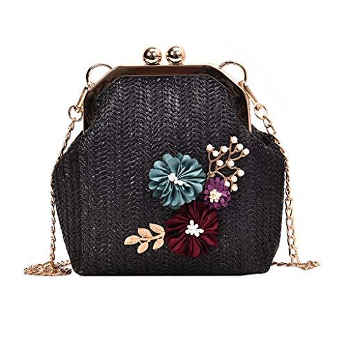 Handtasche FüR Damenmode Retro Woven UmhäNgetasche Floral Woven Bag Beach Bag Schwarz One Size - Schwarz / Rot Floral Handtasche