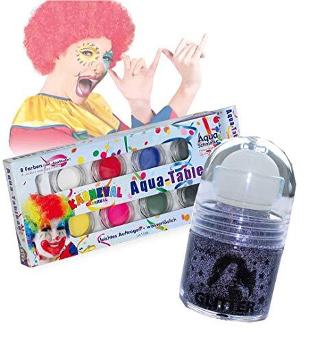 KarnevalsTeufel Karneval Schminkset Aquaschminkfarbe mit Zusatz nach Wahl Theaterschminke Haarspray Nagellack Haargel Glitter-Roller (Aqua Tableau + Glitter Roller Lila)