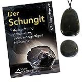 Premium Shungit (Schungit) Edelstein (Heilstein) 5-tlg Schmuck SET | ANHÄNGER + BUCH + LEDER + TASCHENSTEIN + ZUBEHÖR