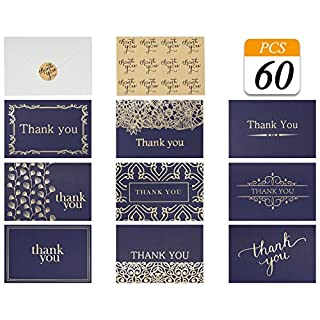 VONDERSO Thank You Cards Notes in 9 Designs Blank Inside with Envelops for Wedding, Birthday, Baby Shower, Party Favors, Business, Graduation, Greeting Cards, Funeral 4x6 inch (Navy-Blue, 60PCS)