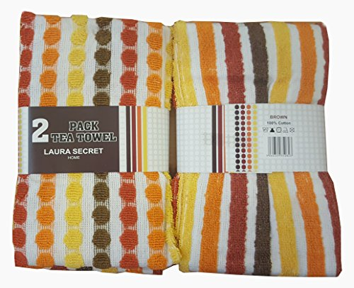 Pack Of 2 100% COTTON MULTI PURPOSE TEA TOWELS SUPER SOFT ABSORBENT,QUICK  DRYING Tea Towel 1x Spotted U0026 1x Striped Design Color Orange