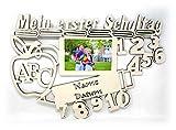 Schule Deko Bilderrahmen 10x15 cm Geschenke mit Namen & Datum personalisiert I Holz zur Schulkinder Einschulung Junge Mädchen