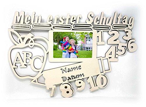 Schule Deko Bilderrahmen 10×15 cm Geschenke mit Namen & Datum personalisiert I Holz zur Schulkinder Einschulung Junge Mädchen