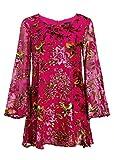 Florales Damen Boho Flower Power SAMT Blumen Kleid mit Trompetenärmeln – Gr. S
