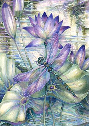 MXJSUA DIY 5D Diamant-Malerei Von Nummer Kits Full Strass Stickerei Kreuzstich Bilder Arts Craft für Home Wand-Dekor, Lotus dragonfly-12X Rand