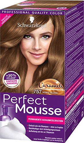 Schwarzkopf Perfect Mousse Permanente Schaumcoloration, 757 Honig-Blond Stufe 3, 3er Pack (3 x 93 ml)