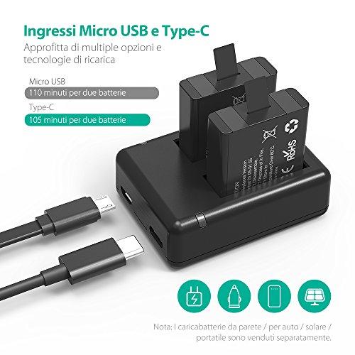 Batterie-GoPro-HERO5-6-Nera-RAVPower-Set-Caricabatteria-per-Fotocamera-Kit-di-Batterie-di-Ricambio-da-2-Pezzi-Caricatore-Doppio-con-Ingressi-Micro-USB-e-Type-C-1260mAh-Compatibile-al-100-con-lOriginal