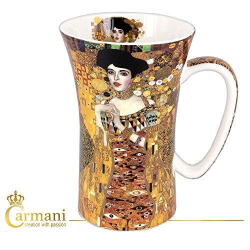 CARMANI - Groß Porzellan-Becher mit \'Adele\' von Gustav Klimt dekoriert 650ml