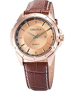 AMPM24 Montre Homme Sportive Quartz Bracelet Cuir Digital Date Or Rose-ORK083