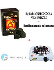 [PACK] 1kg CARBÓN para cachimba TOM COCOCHA PREMIUM GOLD, HORNILLO encendedor cachimba bajo consumo