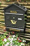 Wandbriefkasten,Briefkasten, Premium-Qualität aus Stahl, verzinkt, pulverbeschichtet Spitzdach S schwarz anthrazit dunkelgrau Zeitungsfach Zeitungsrolle Postkasten