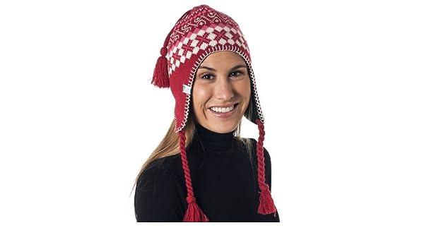 dada26d2fac50 Alki I Braided Aviator Womens Warm Beanie Snowboarding Winter Snow Hats -  Red  Amazon.co.uk  Clothing