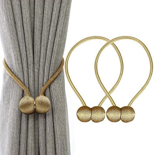 Embrasses de rideaux magnétiques de luxe avec boules en bois uniques, paquet de 2 attaches de retenue de draperie décoratives pour fenêtre de bureau à la maison, rideaux occultants, doré
