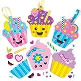 """Cupcakes-Bastelsets """"Lustige Gesichter"""" aus Moosgummi für Kinder zum Basteln und Dekorieren – Kreatives Bastelset für Kinder (6 Stück)"""