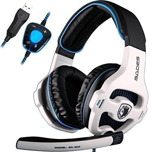 USB Gaming Headset, SADES SA903 Gaming Kopfhörer 7.1 Surround Sound Headset PC Stereo Kopfhörer mit Mikrofon (Schwarz / Weiß) (Ps3-sades Gaming-headset,)