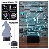 LED Deco 7 couleurs Alimentation micro USB ou piles Illusion 3D (Pikachu Pokemon 1)