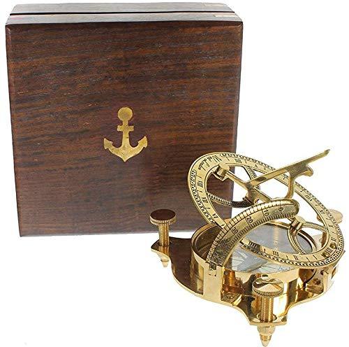 Captain Sonnenuhr Kompass aus Messing mit Hartholz Holzbox 10,2 cm Piraten-Sonnenuhr Kompass Nautische Deko Matrosen-Navigationskompass Antik Sammlerstück Kreatives Vintage-Geschenk