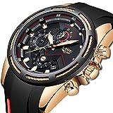 LIGE Hombre Relojes Moda Oro Relojes Hombre Impermeable Deportes Analogicos Cuarzo Relojes Negocios Clásico Negro Silicona Relojes