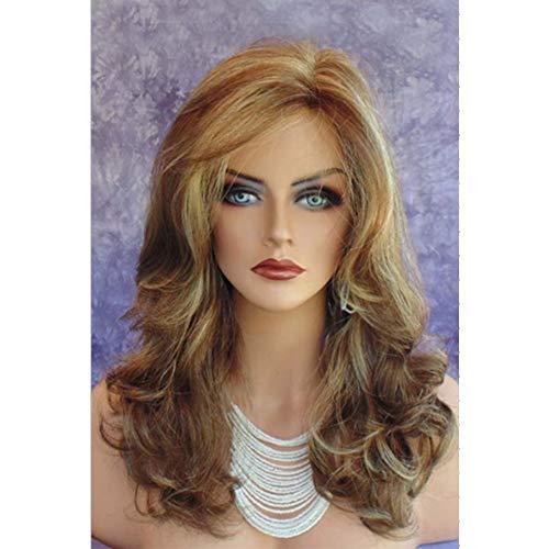 es gelocktes Haar der teilweisen Perücken der Frauen goldene große Welle flaumige Perücke-Kleid-Partei-hohe Temperatur-Silkperücke 45cm * 245g ()