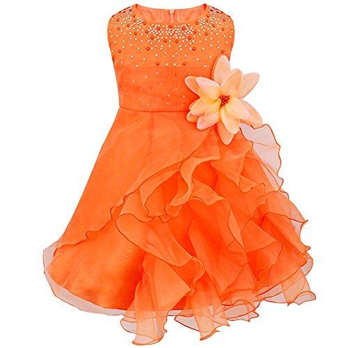 Tiaobug Baby Mädchen Kleid Prinzessin Hochzeit Taufkleid Blumenmädchen Festlich Kleid Kleinkind Festzug Kleidung Orange 98 (Herstellergröße: 90)