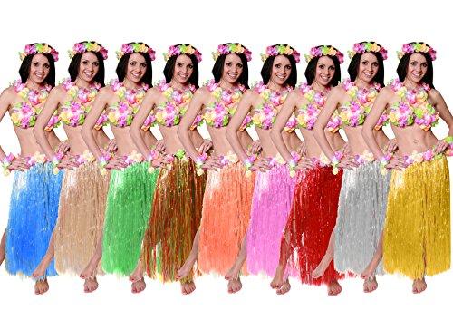 Fancy Blumen Kostüm Dress - Hawaii-Set Fancy Dress Kostüm-Set Farbige 80cm lang Hula Rock + Blume BH + Blume Lei Halskette + Paar Blume Armbänder + Blume Haarband 6Stück Hawaii Bastrock Luau