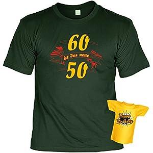 T-Shirt zum 60.Geburtstag + Minishirt Geschenk 60 Set : 60 ist das neue 50 -- Set Goodman Design® Gr: M Farbe: dunkelgrün