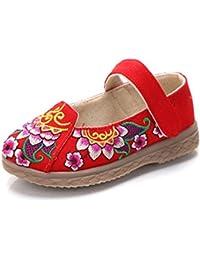 GHKLGY Gestickte Schuhe Sehnensohle ethnischer Stil weiblicher Flip Flop Mode bequem Sandalen  red  36