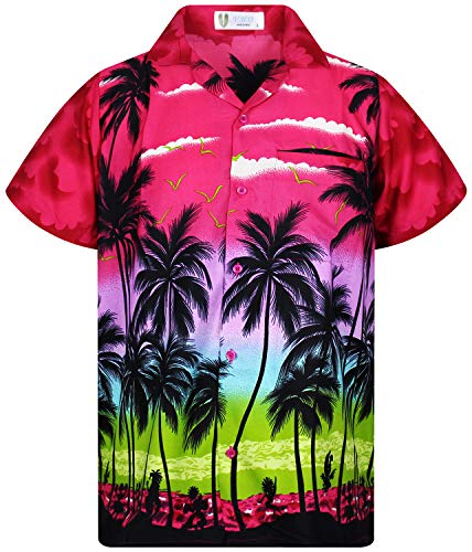 V.H.O. Funky Hawaiihemd, Kurzarm, Beach, pink, XL -